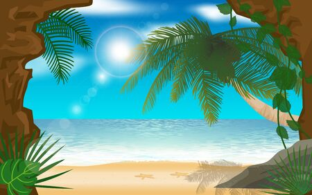 landscape of the beach on the island in summer Иллюстрация