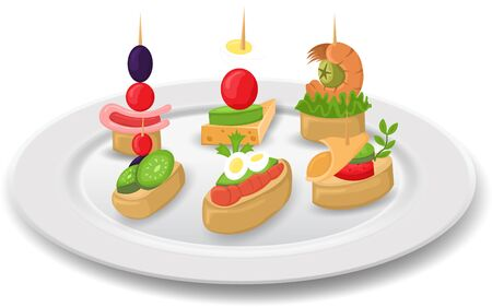 canapes in the pate on the white background Ilustracja