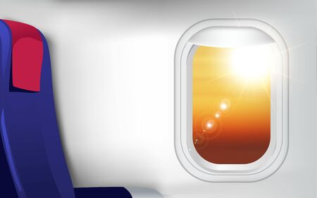 view of sunlight on the sky at the window of plane