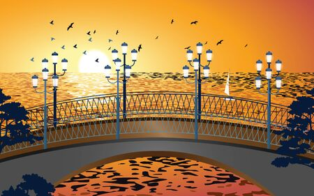 landscape of the bridge at the beach in sunset