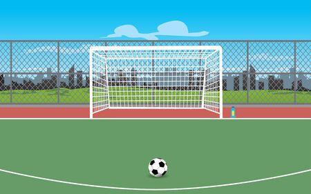 landscape of outdoor futsal field in daytime