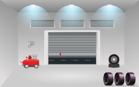 Air pumps and tires in the garage at home