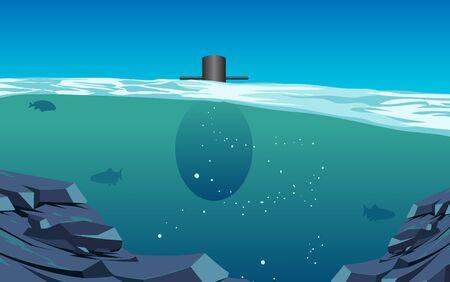 Submarine at underwater in the the ocean Illustration