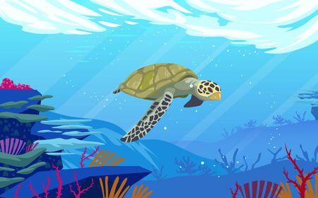 Sea turtle at underwater in the ocean