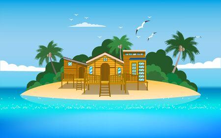 paysage de maison en bois sur le dans l'île