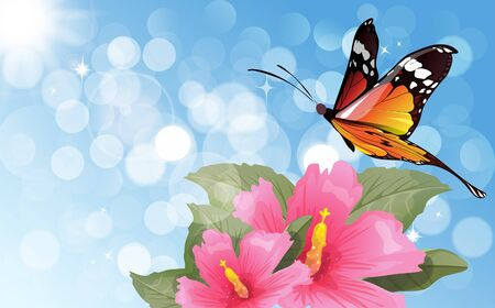 hibiscus flower and butterfly on the blue light abstract background Иллюстрация