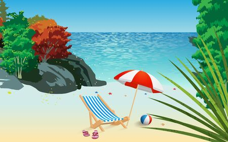 Beach chair and umbrella on the beach in daytime Иллюстрация