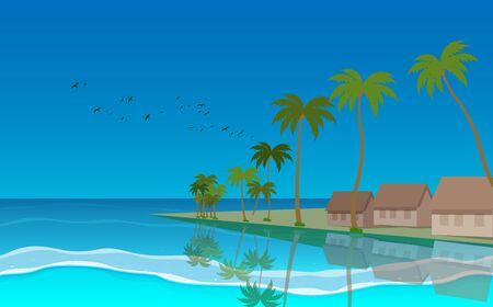 landscape of bungalow at the island in daytime  イラスト・ベクター素材