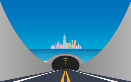 Road in the tunnel under the sea to the city