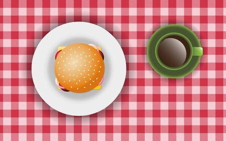 burger on the plate with hot coffee on the table 일러스트