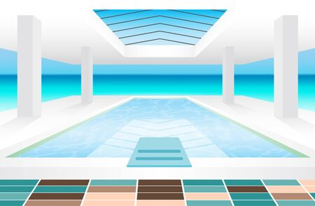 indoor swimming pool at the beach in daytime Illustration