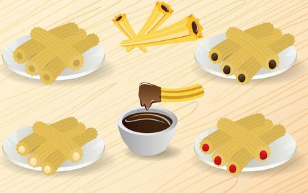 churros with chocolate in the plate on the wooden table Illustration