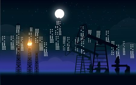 Oil drilling rig at the city in the night
