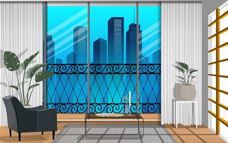 vue sur la ville au balcon du salon