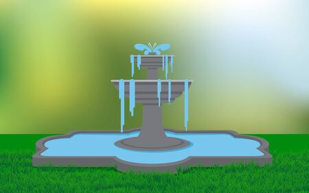 fountain on the lawn in the garden