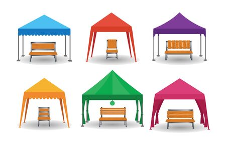 lawn chair in the colorful tents on the white background