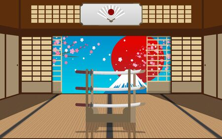 Interior decoration of dojo with landscape of fuji mountain background