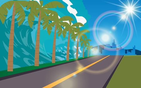 Tsunami on the road at the beach in daytime Illustration