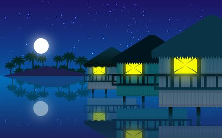 landscape of bungalows on the beach in the ocean in night