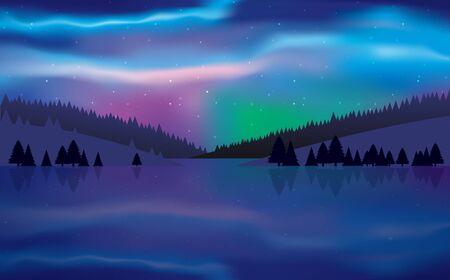 paisaje de colorida aurora boreal en el río en la noche