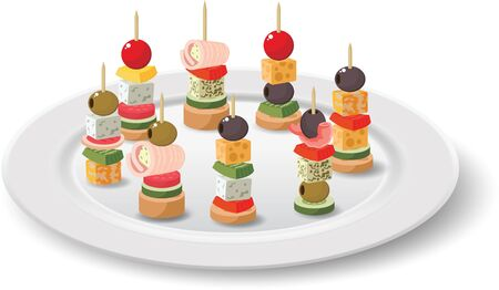 colorful canapes in the white plate on the white background Illustration