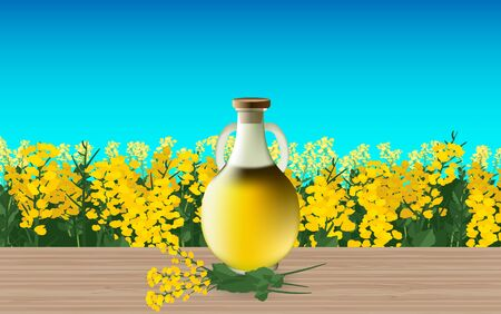 Canola oil on the wooden table Illustration