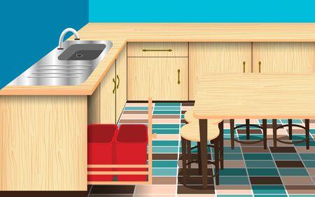 mesa y sillas de madera en la sala de la cocina