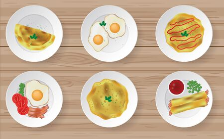 omelet in the plate on the wooden table