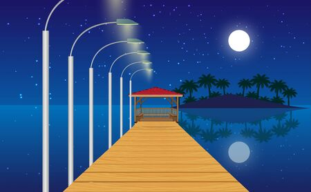 landscape of wooden gazebo at the beach in the night
