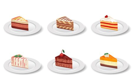 Cake slice in the plate on the white background