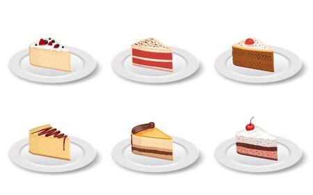 Kawałek ciasta w talerzu na białym tle