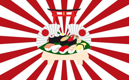 sushi on the wooden table  イラスト・ベクター素材