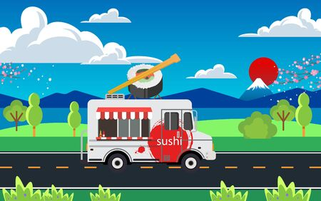 Sushi car on the road in the daytime  イラスト・ベクター素材