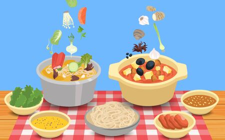 hotpot and ingredients on the wooden table  イラスト・ベクター素材