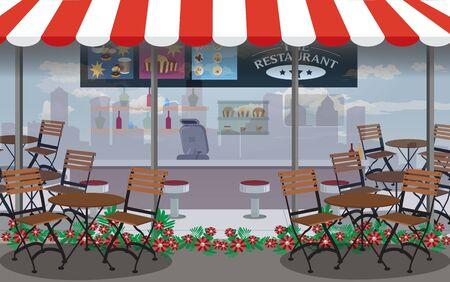 tables et chaises au café en plein air