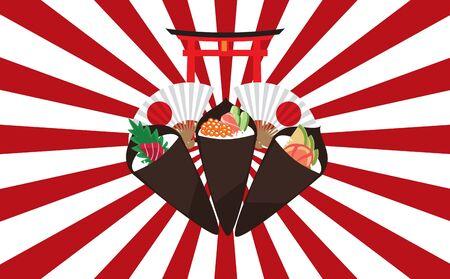 Temaki sushi on the japan background  イラスト・ベクター素材