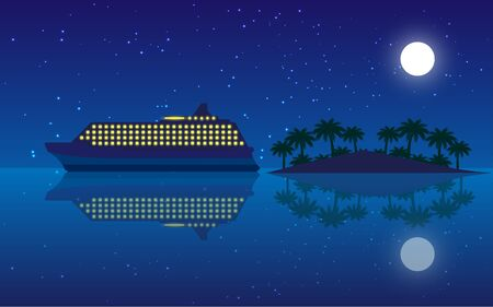 yacht on the ocean in the night