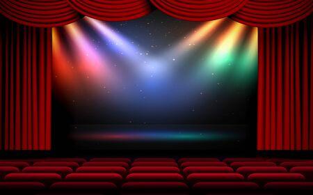 kleurrijk licht van schijnwerpers op het podium