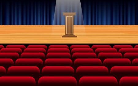 podio en el escenario en el pasillo Ilustración de vector