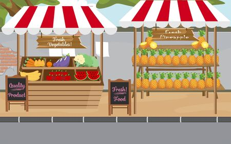 ananas and fruits on the outdoor market