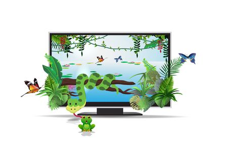 3d lcd television on the white background