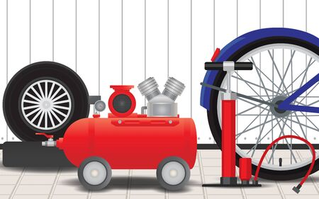 air pump for car and bicycle Stock Illustratie