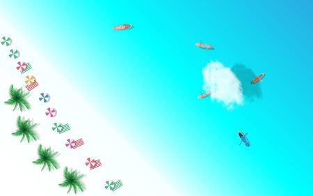 top view of the beach in summer Illustration