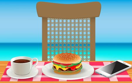 burger and coffee on wooden table at the beach
