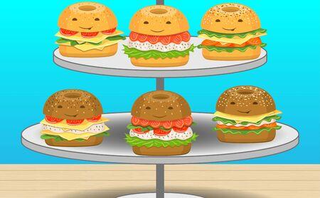 burger on the stand Ilustração