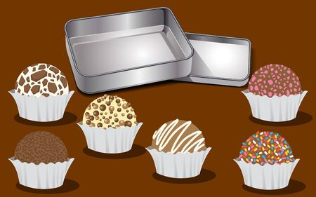 sweets and steel box, vector illustration Ilustrace