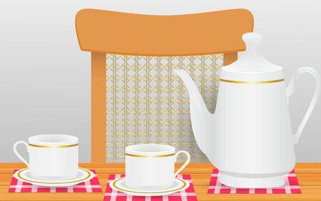 té caliente en la mesa de madera Ilustración de vector