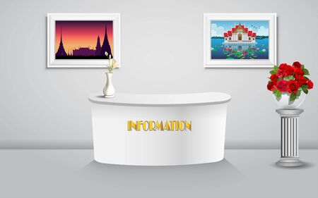 travel table information and picture frame in thailand Illustration