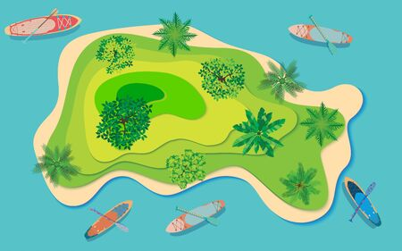 topview of island in the ocean Illustration