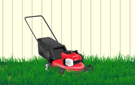 lawn mower on the lawn at garden